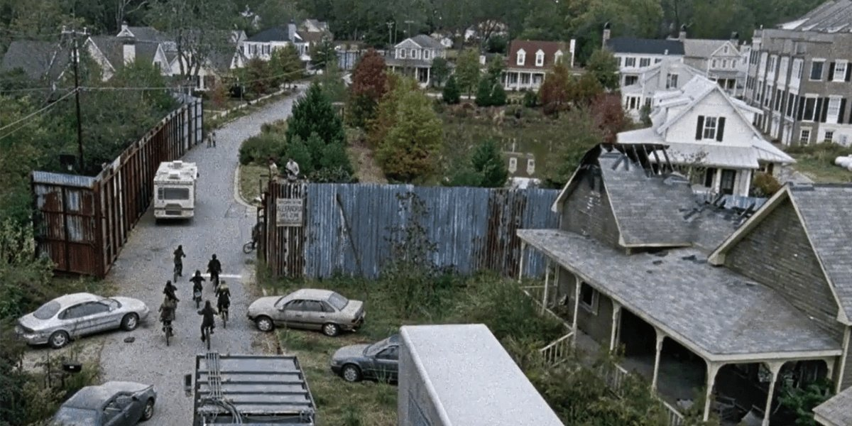 Alexandria from above in The Walking Dead.