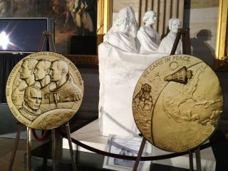 These Congressional Gold Medals were awarded to space pinoeers John Glenn, Neil Armstrong, Buzz Aldrin and Michael Collins