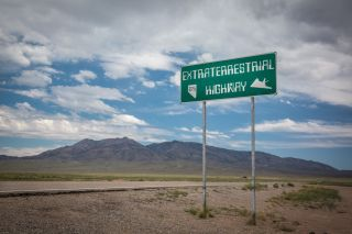 The top-secret military base, Area 51, is located near a route named Extraterrestrial Highway in 1996.