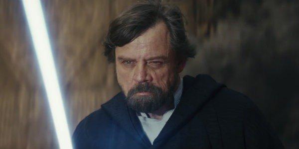 Luke battling Kylo in The Last Jedi