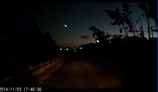 Skywatcher Tam Shin captured this dash camera video of a brilliant fireball over Japan on Nov. 3, 2014 while driving in the city of Koga, just north of Tokyo. The video was posted on Youtube.