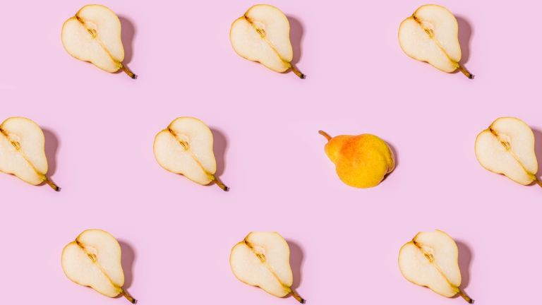pears on a pink background