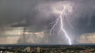 image of large lightning strike over melbourne
