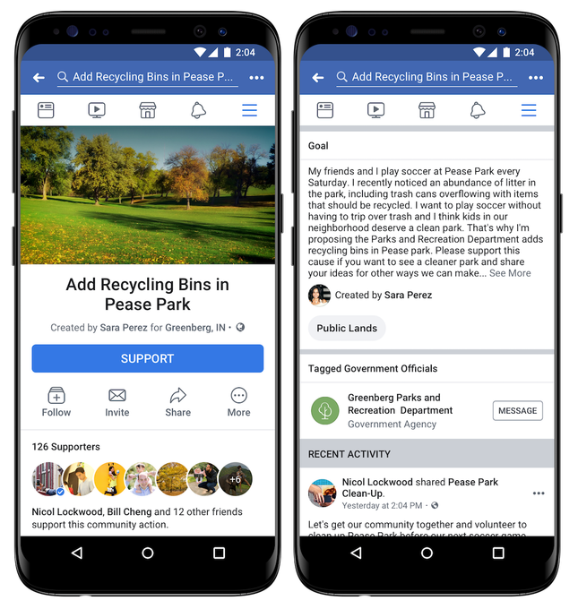 """Facebook, le nouveau """"les Actions de la Communauté"""" rassemblera des utilisateurs des pétitions à votre alimentation"""