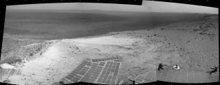 "NASA's Opportunity Mars rover captured this view from the summit of ""Cape Tribulation,"" on the western rim of Endeavour Crater, on Jan. 6, 2015."