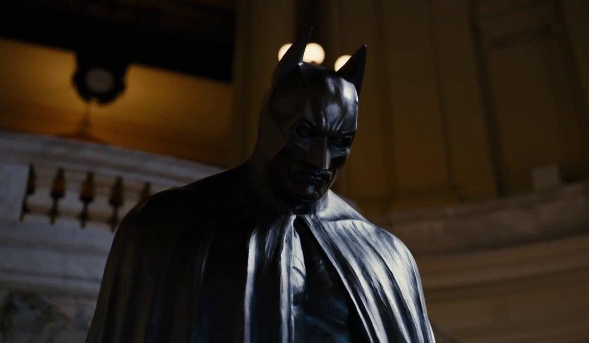 The Dark Knight Rises Batman's memorial statue