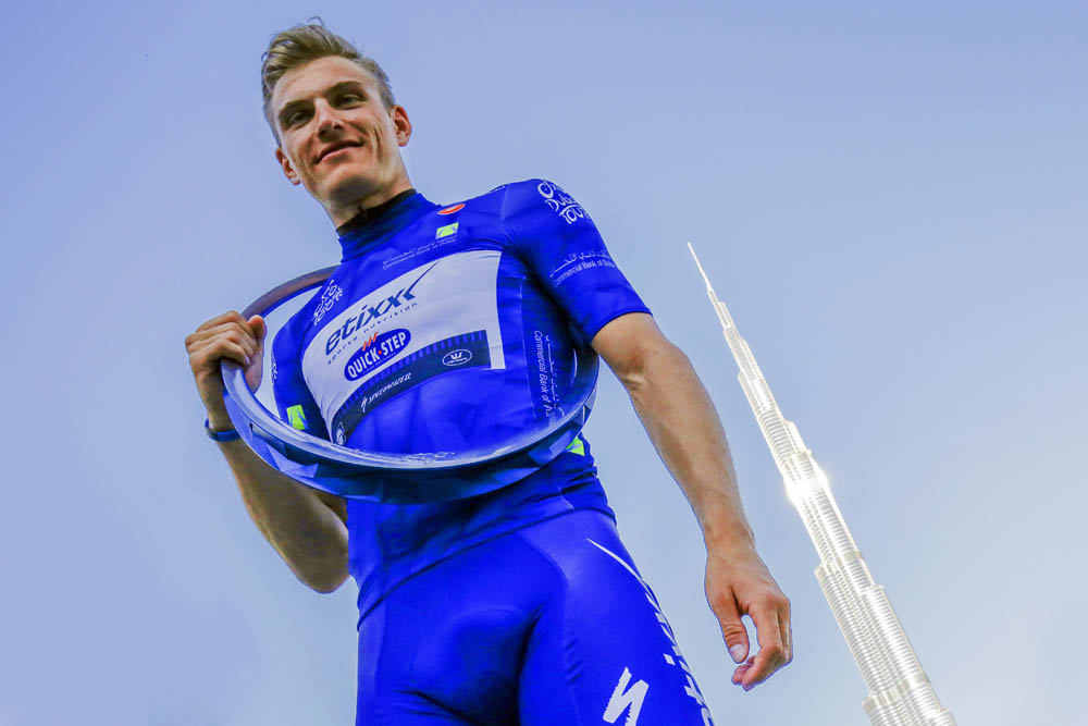 Thumbnail: Marcel Kittel on the podium after winning the 2016 Tour of Dubai.