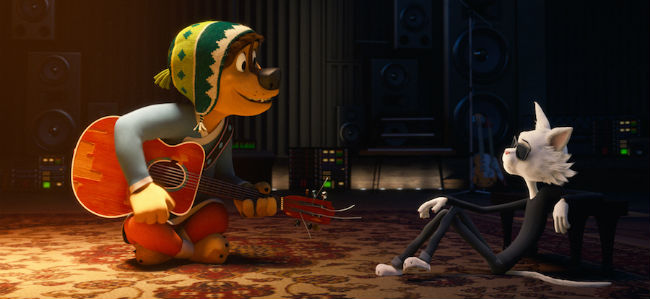 Rock Dog Playing Guitar For A Cool Cat