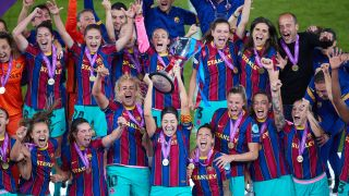 Vicky Losada of FC Barcelona lifts the trophy after winning the UEFA Women's Champions League Final match between Chelsea FC and Barcelona at Gamla Ullevi on May 16, 2021 in Gothenburg, Sweden. (