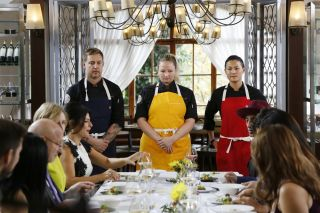 Bryan Voltaggio, Stephanie Cmar, and Melissa King on the 'Top Chef' finale.
