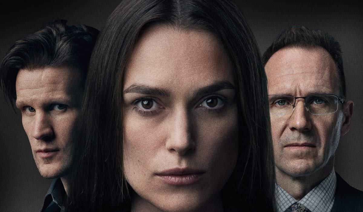 Official Secrets Matt Smith Keira Knightley and Ralph Fiennes look serious