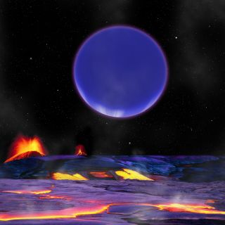 Illustration of a lava-covered alien planet with another planet looming overhead