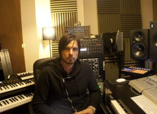 Producer Ade Fenton in his studio