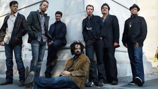 Counting Crows in 2013 - Adam (centre) having a pre-tour sit-down