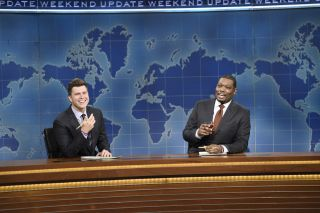 Colin Jost and Michael Che during the Weekend Update segment on Satruday Night Live on Saturday, Nov. 7, 2020