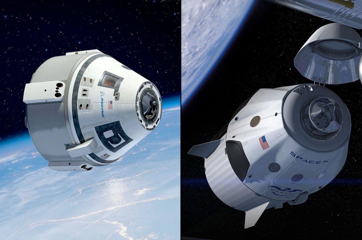 A la izquierda: Starliner de Boeing. A la derecha: Dragon-2 de SpaceX