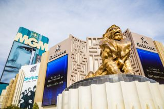 Gold lion statue in front of the MGM Grand resort and hotel in Las Vegas.