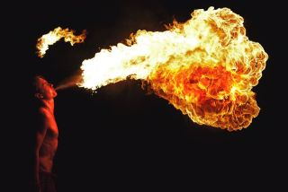 A fire breather at work