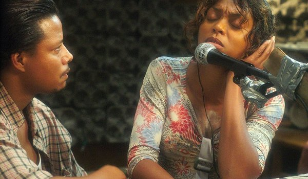Hustle and Flow Terrence Howard Taraji P. Henson singing in front of the mic