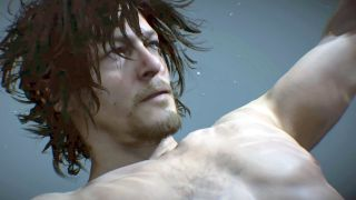Norman Reedus' character Sam floats adrift in Death Stranding.