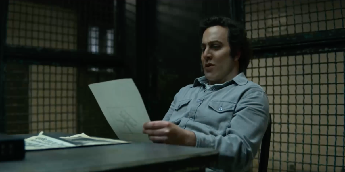 David Berkowitz (Oliver Cooper) reading a letter left by the BTK Killer, which never happened in rea
