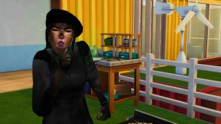 A Sim coughing after setting herself on fire