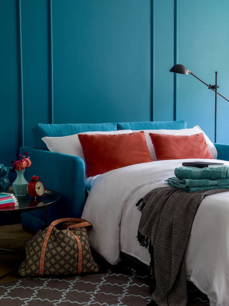 Teal blue sofa bed