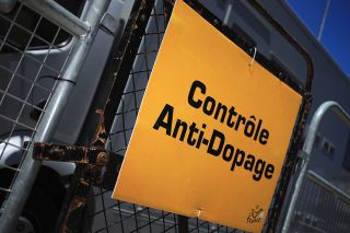 The entrance to the anti-doping vehicle at the Tour de France