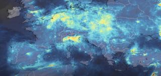 A still image from an animation showing nitrogen dioxide levels in northern Italy decreasing over 2020, in part in response to the COVID-19 outbreak.