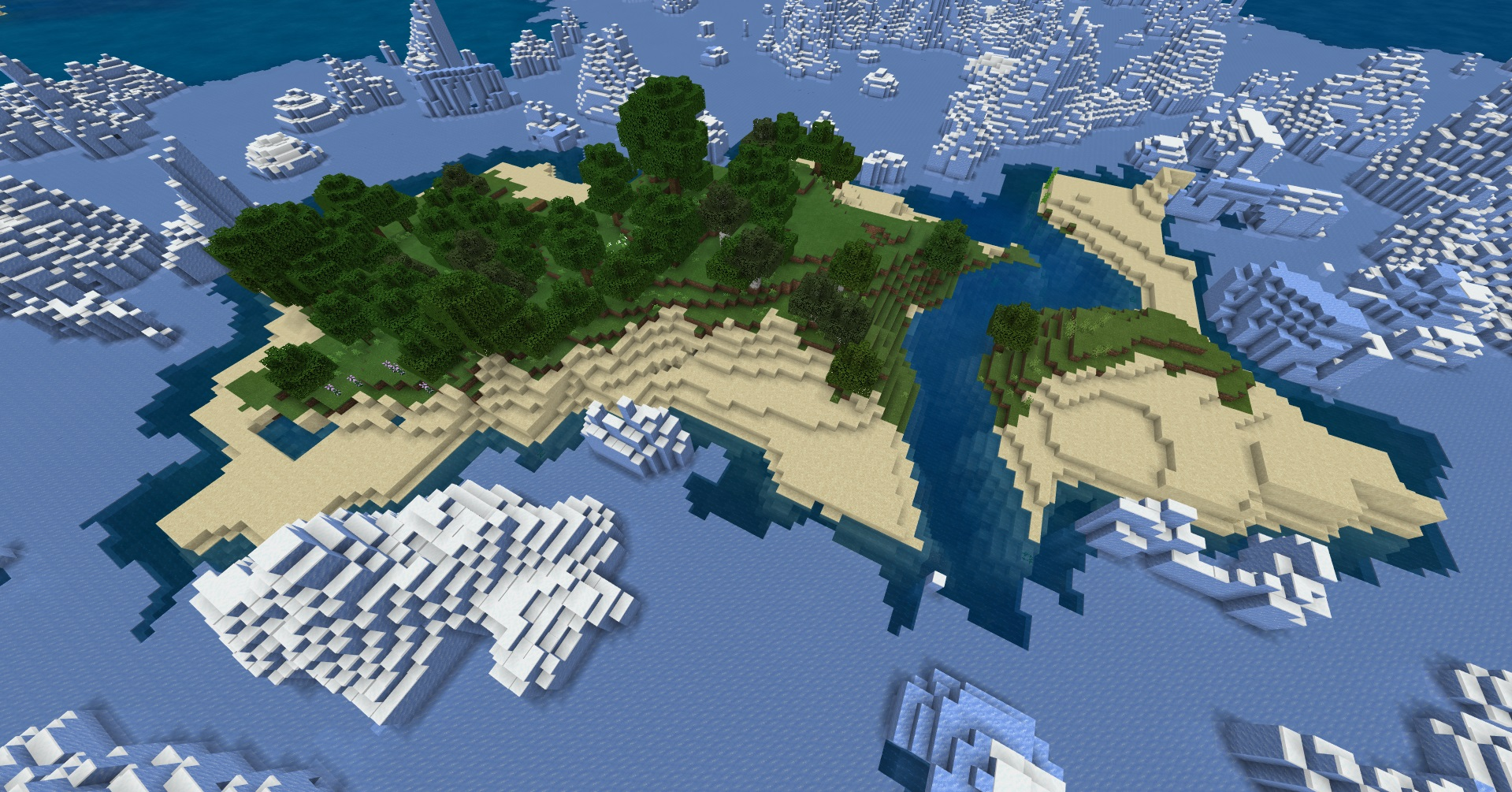 Minecraft seed bedrock and pocket edition - An aerial view of a medium-sized island with a small forest and beaches surrounded by an icy ocean tundra