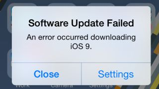 iOS 9 failed update error message fix news
