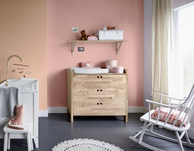 Best changing tables: Jungle Ginger 3 matt emulsion (left), Pink Nevada 5 matt emulsion, £27.56 for 2.5 litres, both Dulux