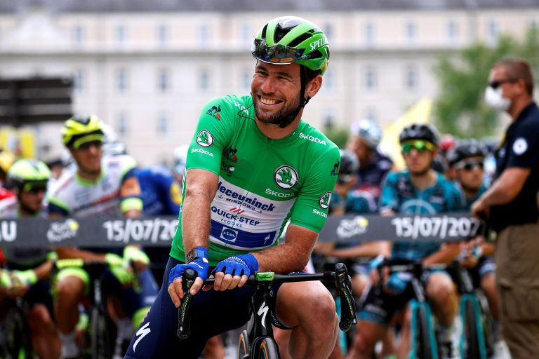 Mark Cavendish at the Tour de France 2021 in the green points jersey