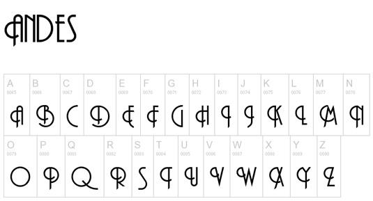 Retro fonts: Andes