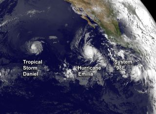 Three storms in the Pacific Ocean