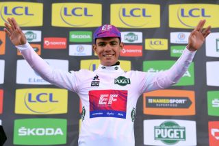 CHALETTESURLOING FRANCE MARCH 09 Podium Sergio Andres Higuita of Colombia and Team Ef Education First White Best Young Jersey Celebration during the 78th Paris Nice 2020 Stage 2 a 1665km stage from Chevreuse to ChaletteSurLoing ParisNice parisnicecourse PN on March 09 2020 in ChalettesurLoing France Photo by Luc ClaessenGetty Images