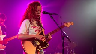 Nilüfer Yanya performs on stage at SWN Festival 2019 on October 18, 2019 in Cardiff, Wales.