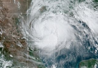 Hurricane Hanna seen from above on Saturday, July 25, 2020.