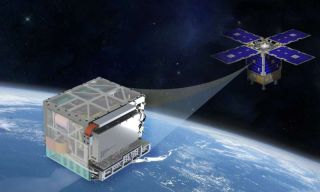 A NASA illustration shows the clock in its testbed satellite.