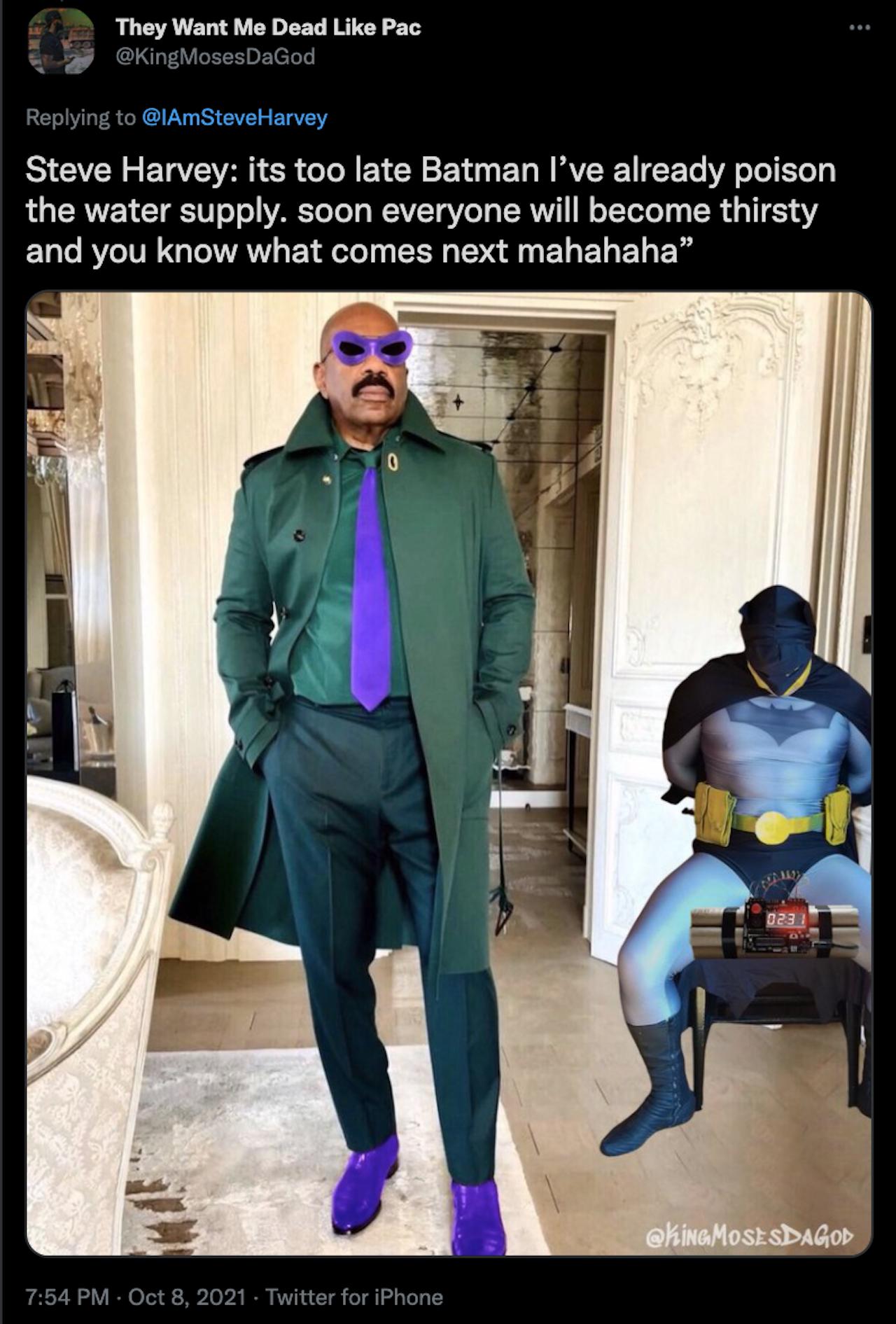 steve harvey super villano traje verde tweet