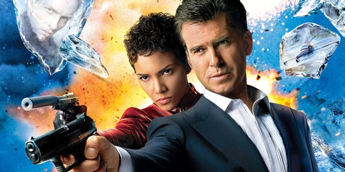 Die Another Day Halle Berry and Pierce Brosnan amidst exploding ice