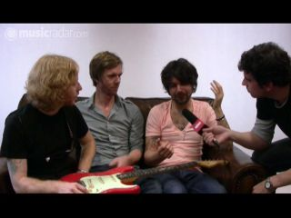 L-R: James Johnston, Fender UK's Neil Whitcher, Simon Neil, Total Guitar's Nick Cracknell