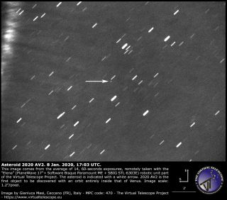 This image, taken Jan. 8, shows the newfound asteroid 2020 AV2, which orbits the sun closer than Venus does.