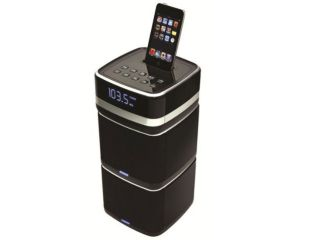 i-Station Tower Micro Stereo Speaker System and Alarm Clock Radio