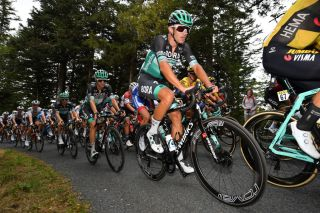 SAINT CHRISTO EN JAREZ FRANCE AUGUST 12 Andreas Schillinger of Germany and Team Bora Hansgrohe Emanuel Buchmann of Germany and Team Bora Hansgrohe Peloton during the 72nd Criterium du Dauphine 2020 Stage 1 a 2185km stage from Clermont Ferrand to Saint Christo en Jarez 752m dauphine Dauphin on August 12 2020 in Saint Christo en Jarez France Photo by Justin SetterfieldGetty Images