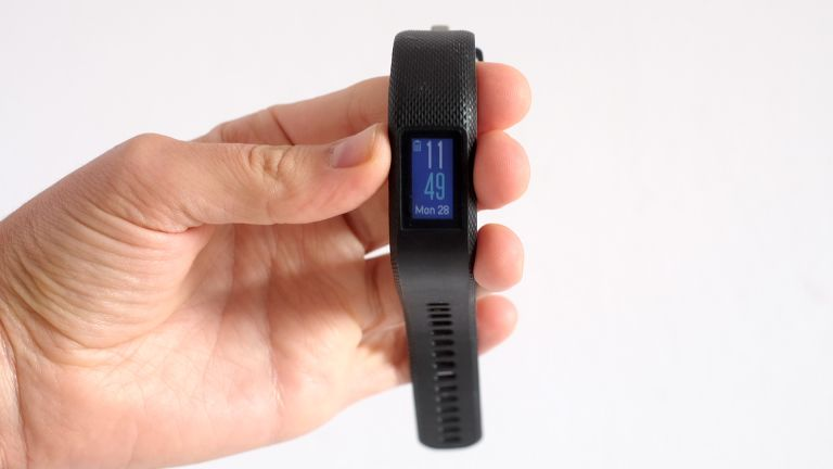 Our reviewer, Andrew Williams, holds the Garmin Vivosport