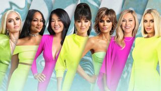 From left: The season 11 cast of Bravo's 'Real Housewives of Beverly Hills' Erika Girardi, Garcelle Beauvais, Crystal Kung Minkoff, Kyle Richards, Lisa Rinna, Sutton Stracke, and Dorit Kemsley