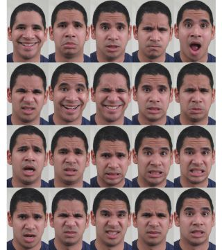 Twenty facial expressions of basic and compound emotion categories. From left to right and top to bottom, these categories correspond to: happy, sad, fearful, angry, surprised, disgusted, happily surprised, happily disgusted, sadly fearful, sadly angry, s