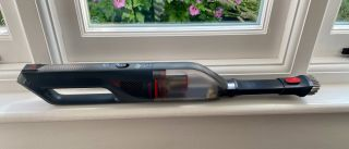 The Eufy HomeVac H30 Mate laying on a window sill