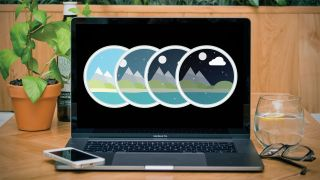 Graphic of 4 mountain scenes in circles on a computer screen